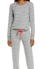 PJ Salvage  Stripe Joyfull Top and Jogger Set - Front cropped