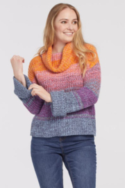 Tribal  Stripe Knit Cowl Neck Sweater - Product Mini Image