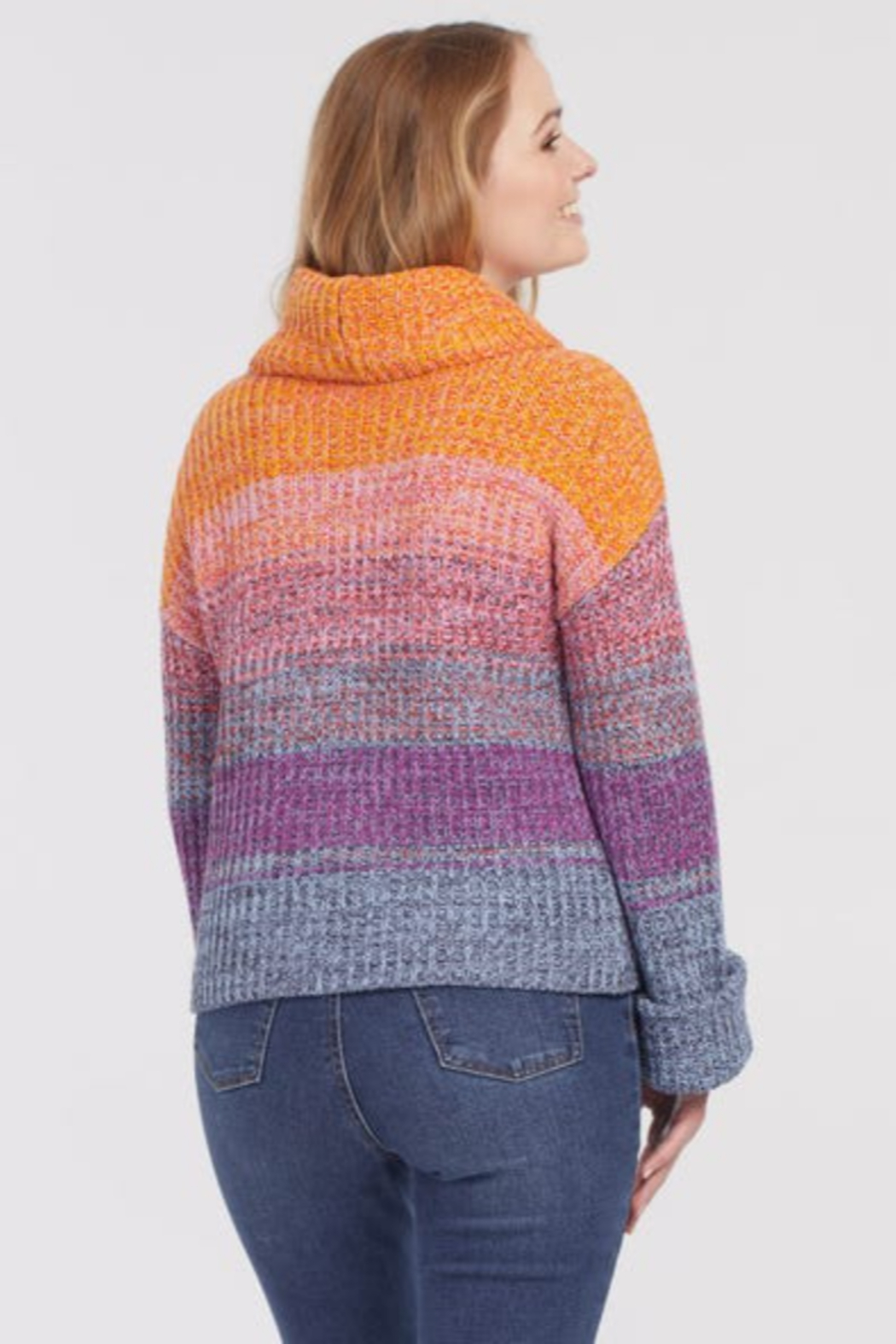 Tribal  Stripe Knit Cowl Neck Sweater - Side Cropped Image