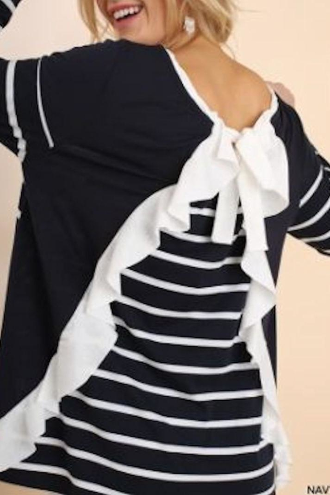 Umgee USA Stripe Knit Top - Front Full Image