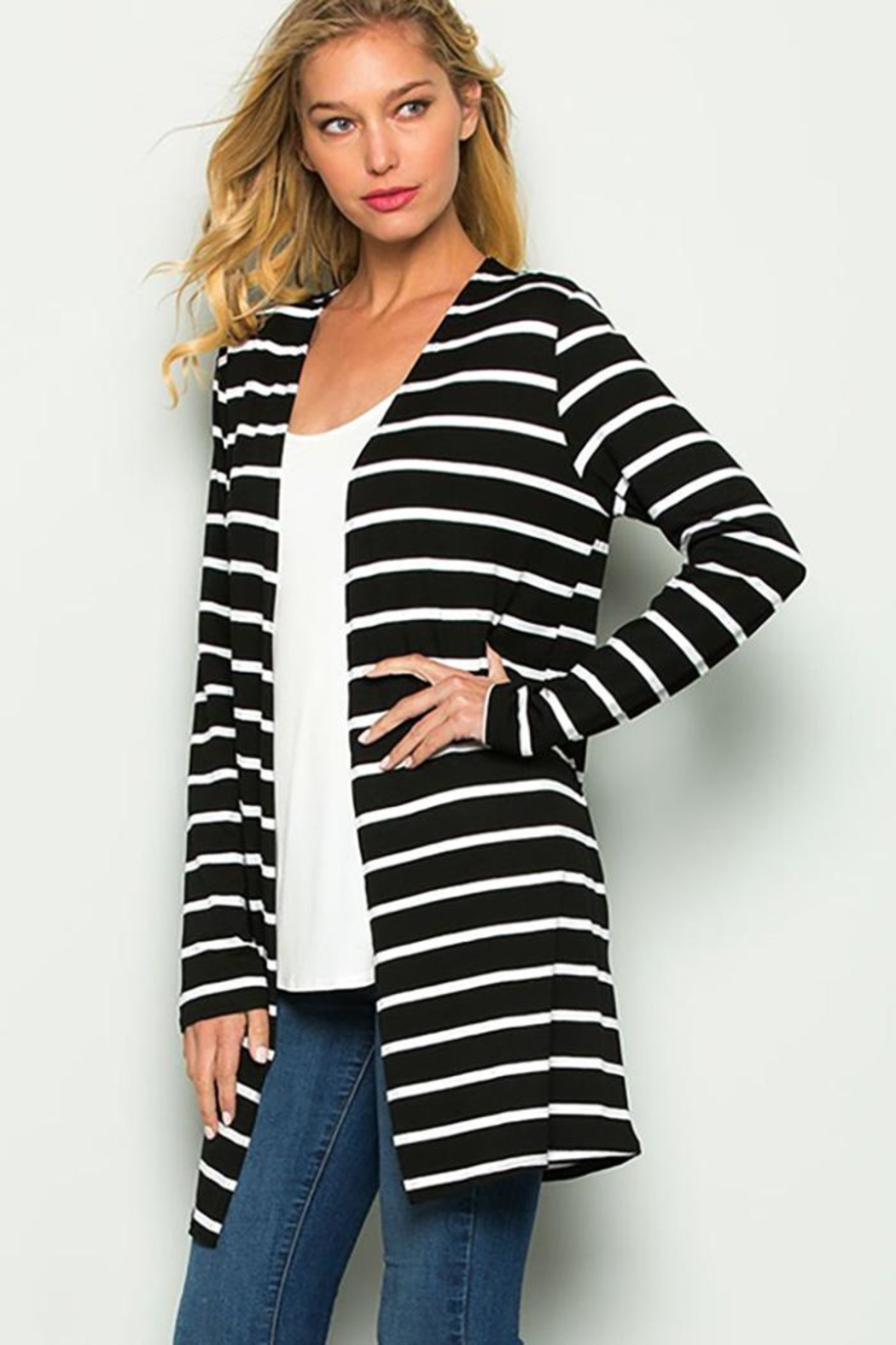 American Chic Stripe Long-Sleeve Cardigan - Front Full Image