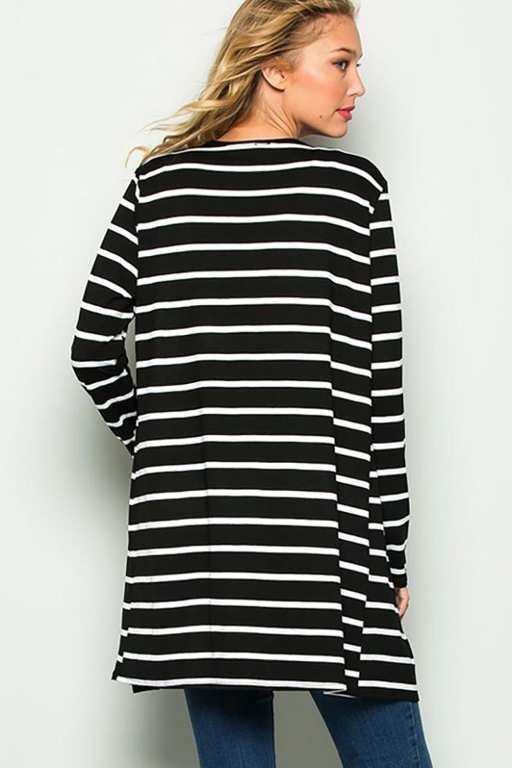 American Chic Stripe Long-Sleeve Cardigan - Side Cropped Image