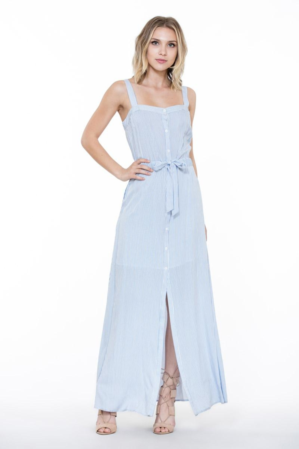 En Creme Stripe Maxi Dress - Front Full Image