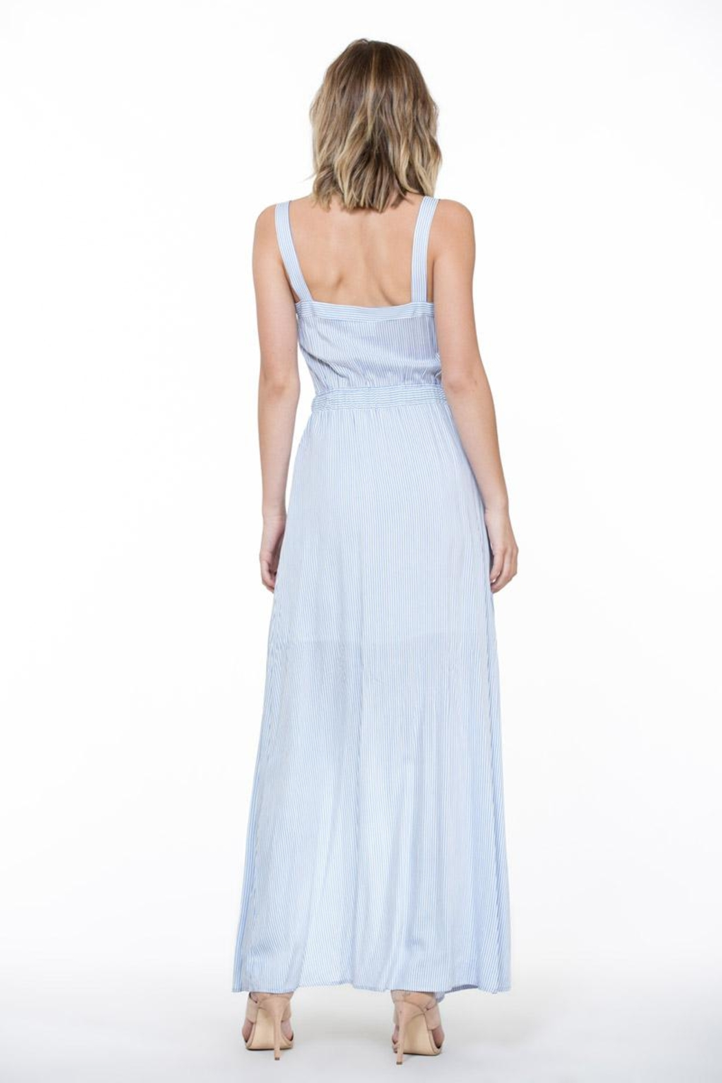 En Creme Stripe Maxi Dress - Back Cropped Image