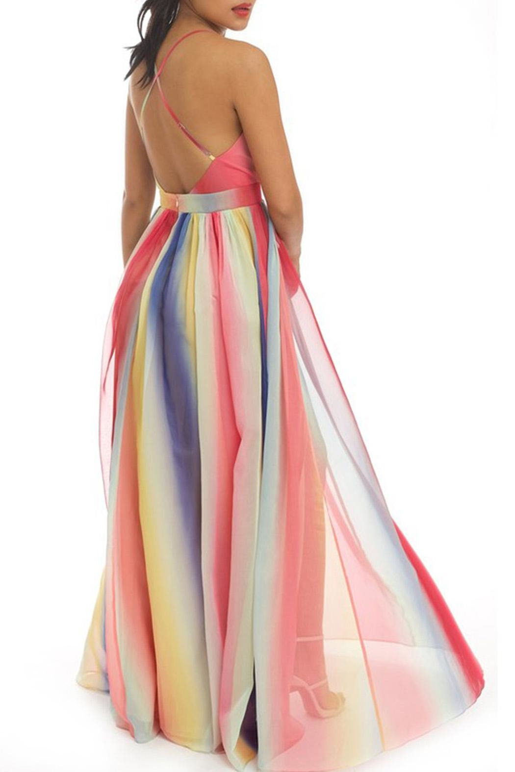 luxxel Stripe Maxi Dress - Front Full Image