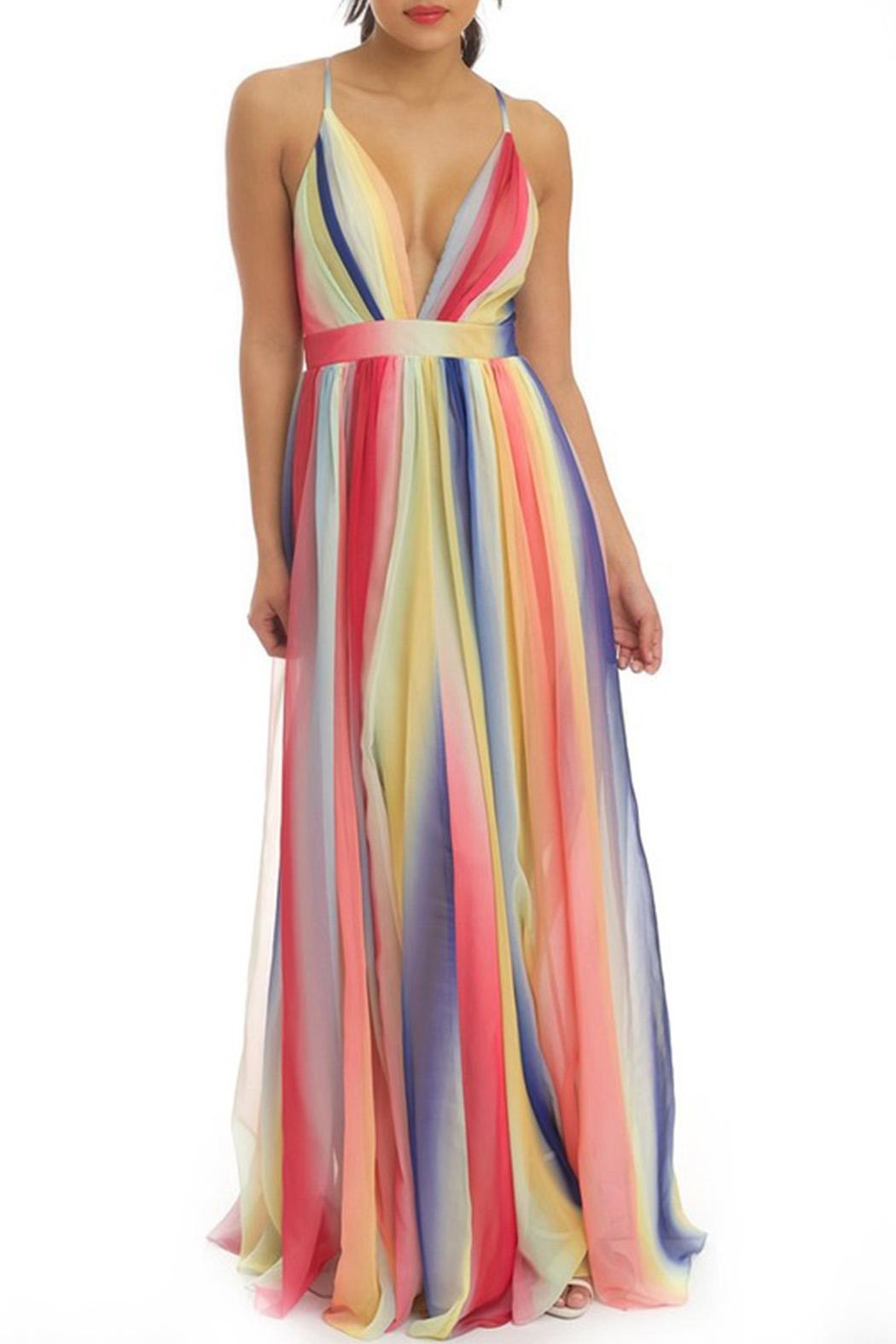 luxxel Stripe Maxi Dress - Front Cropped Image
