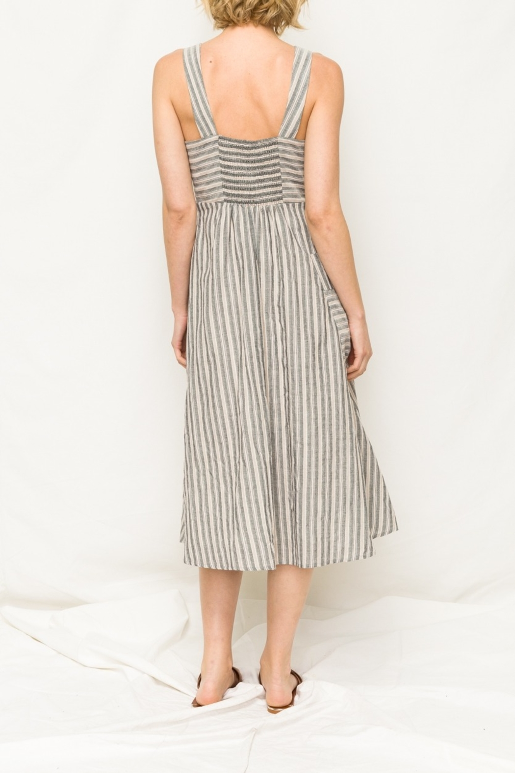 Mystree Stripe Midi Dress - Front Full Image