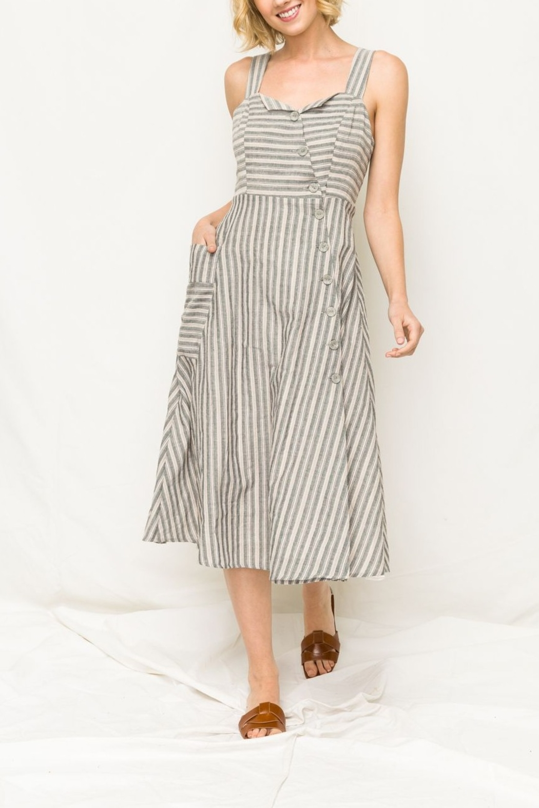 Mystree Stripe Midi Dress - Main Image