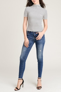 Wasabi + Mint Stripe Mock-Neck Top - Product List Image