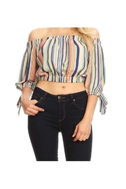 Casting Stripe Off-Shoulder Top - Front cropped