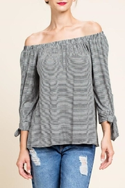 Blu Heaven Stripe Off-The-Shoulder Top - Product Mini Image