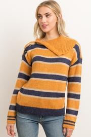Hem & Thread Stripe Open Mock Neck Sweater with Right Shoulder Buttons - Product Mini Image