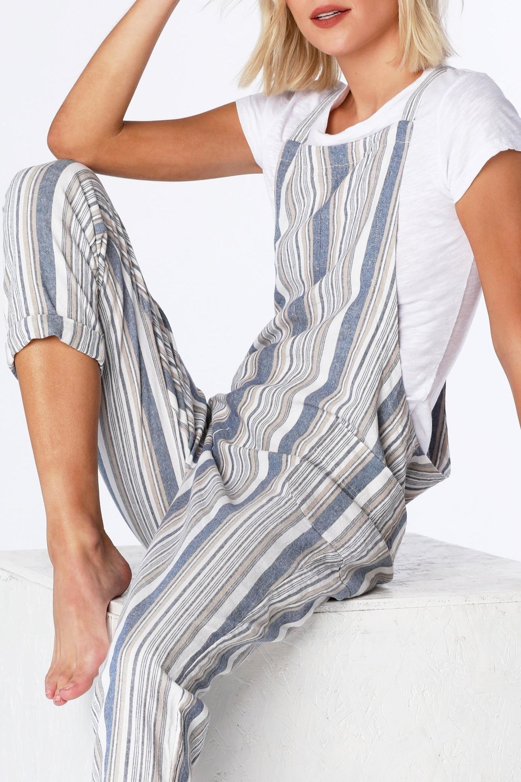 Bobi Stripe Overall - Back Cropped Image