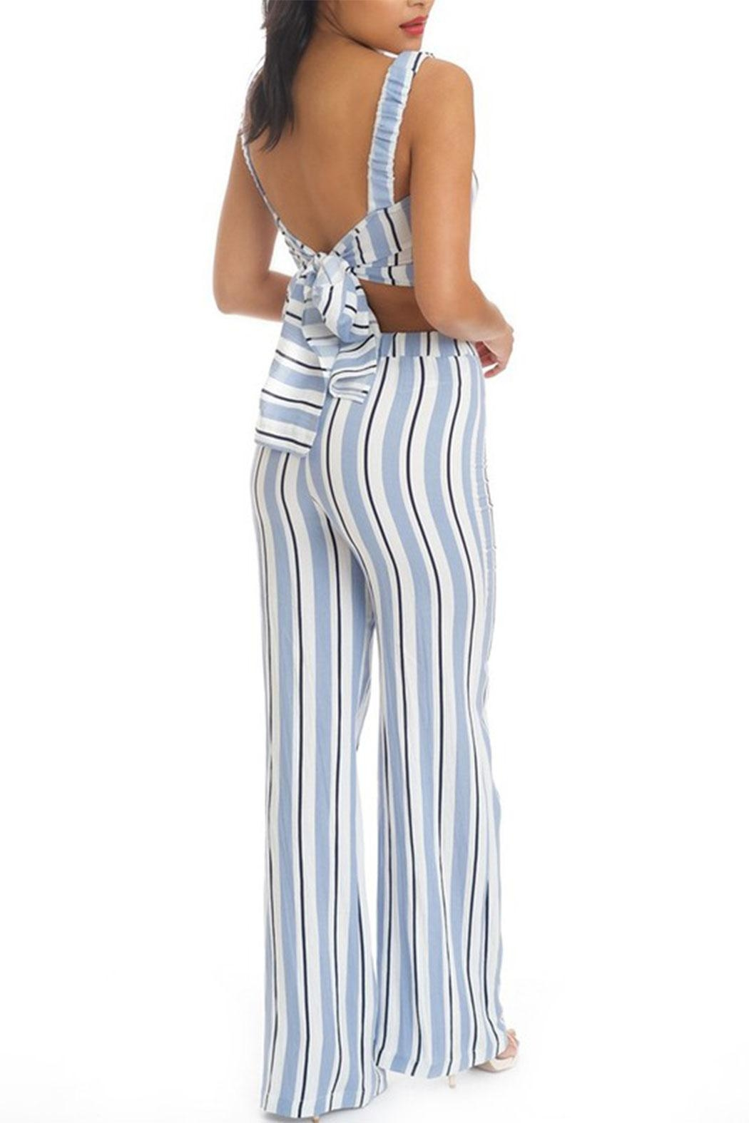 luxxel Stripe Pant Set - Front Full Image