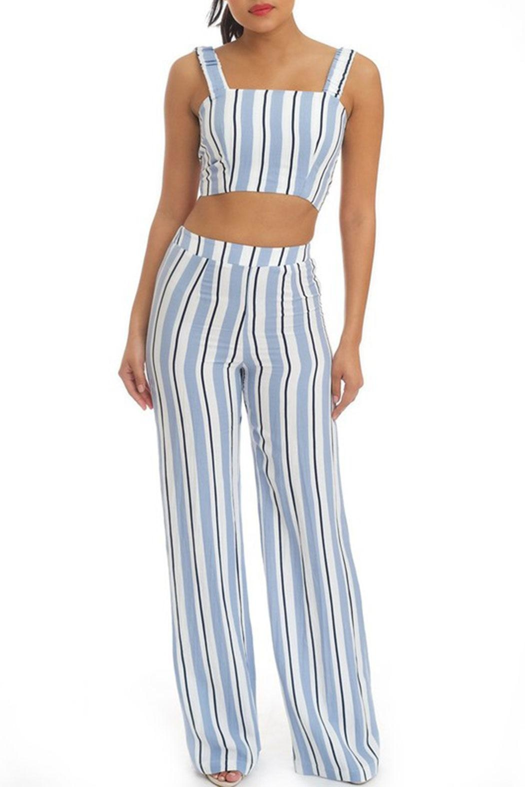 luxxel Stripe Pant Set - Front Cropped Image