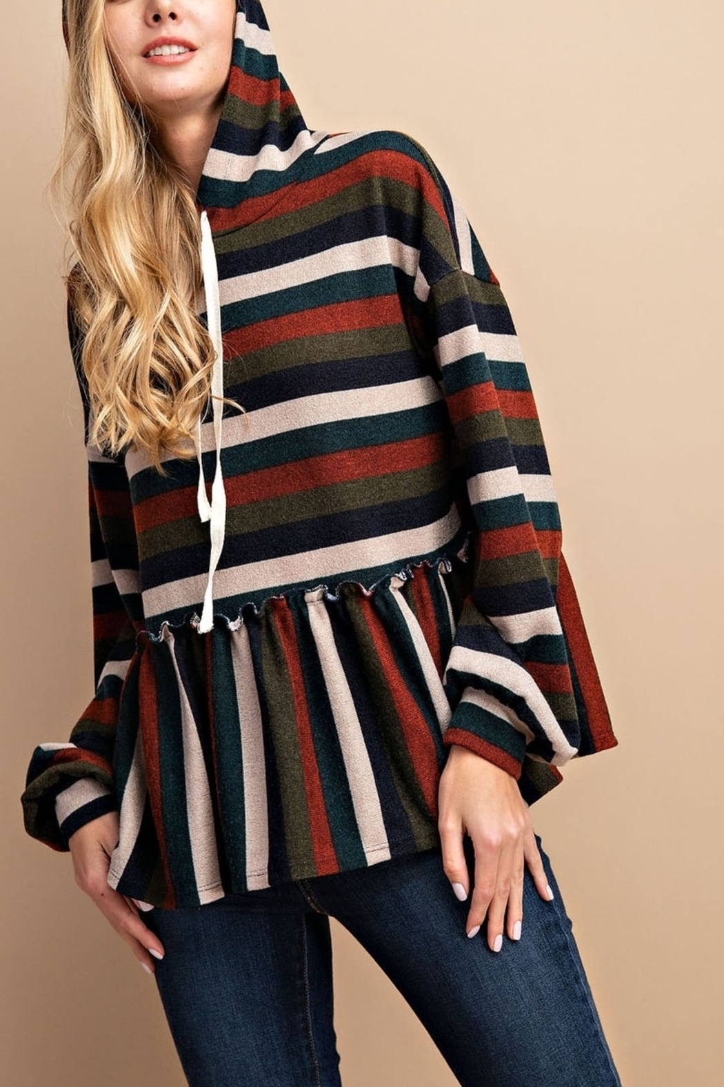 Lyn -Maree's Stripe Peplum Pullover - Front Cropped Image