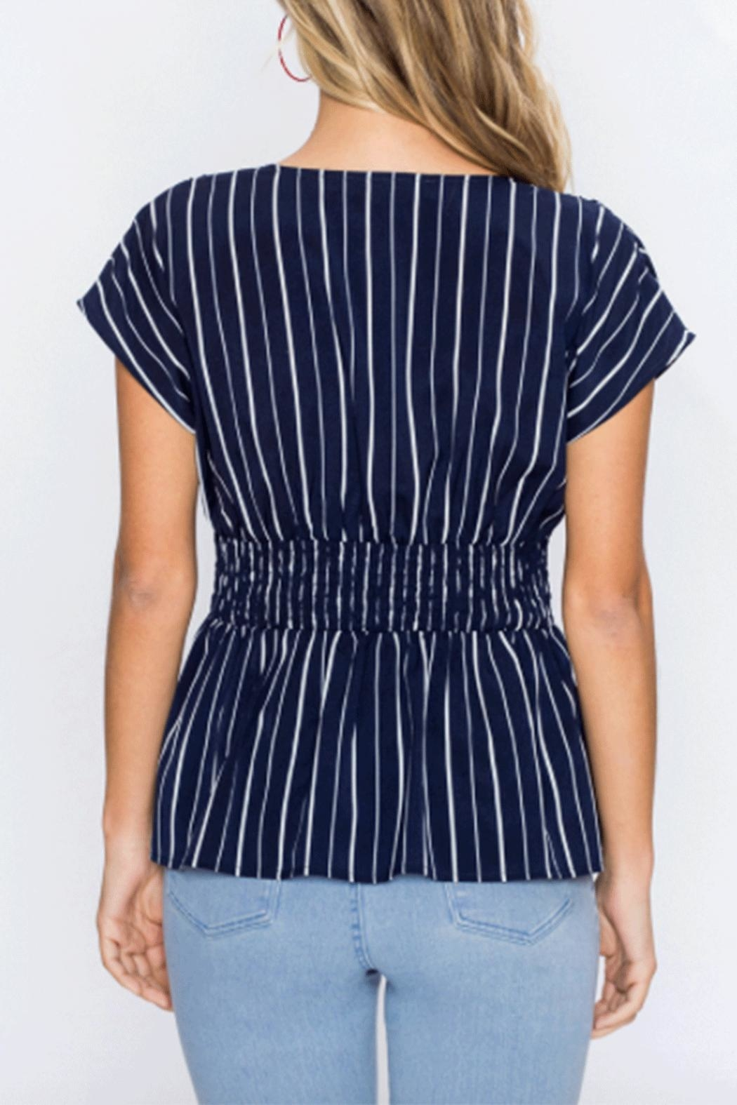 Flying Tomato Stripe Peplum Top - Front Full Image