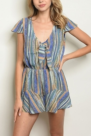 Lyn-Maree's  Stripe Romper with Knot Detail - Product Mini Image