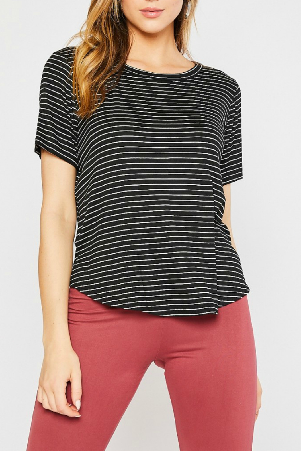 Mittoshop STRIPE ROUND NECK SHORT SLEEVE KNIT TOP - Front Cropped Image