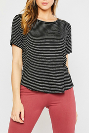 Mittoshop STRIPE ROUND NECK SHORT SLEEVE KNIT TOP - Product Mini Image