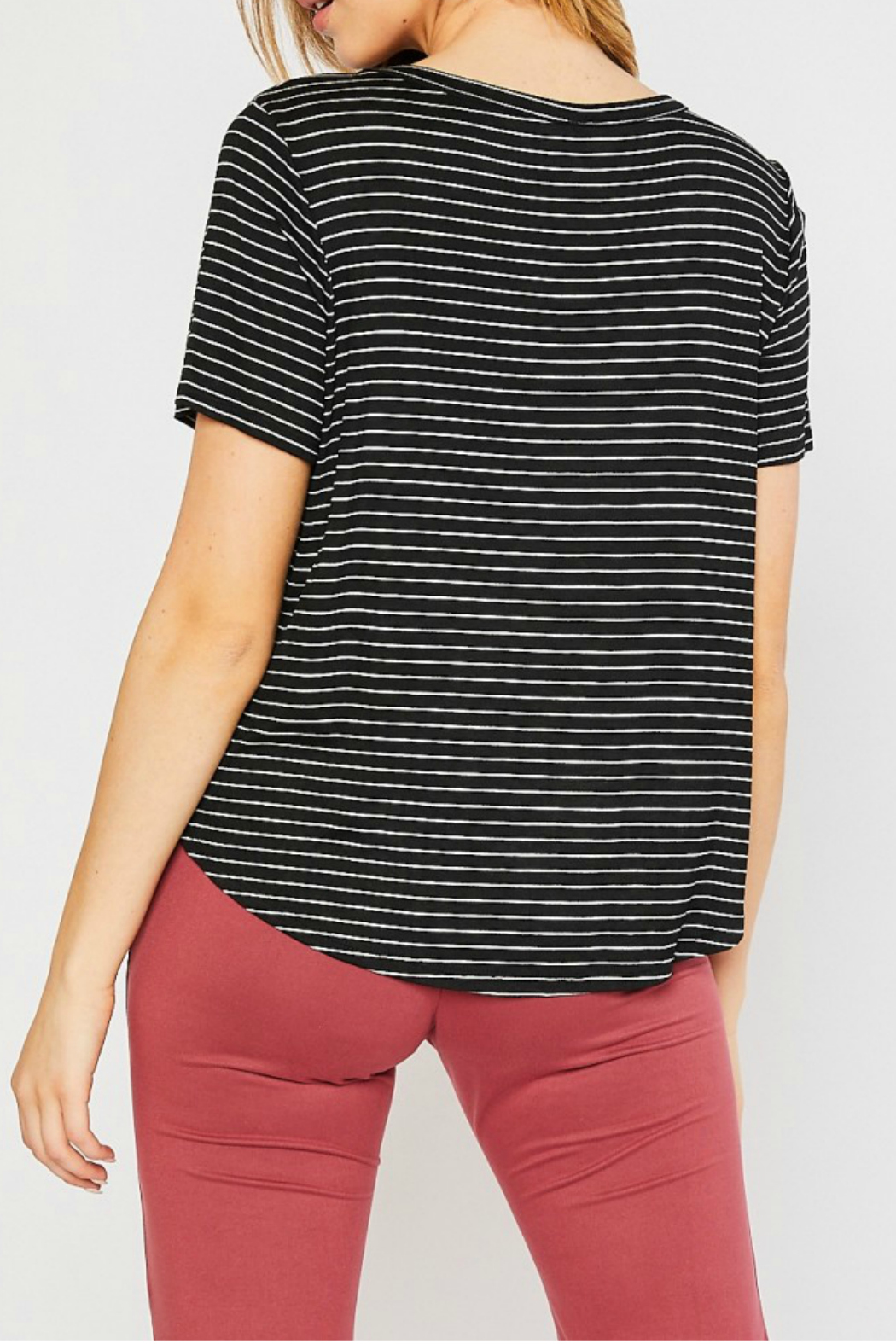 Mittoshop STRIPE ROUND NECK SHORT SLEEVE KNIT TOP - Front Full Image
