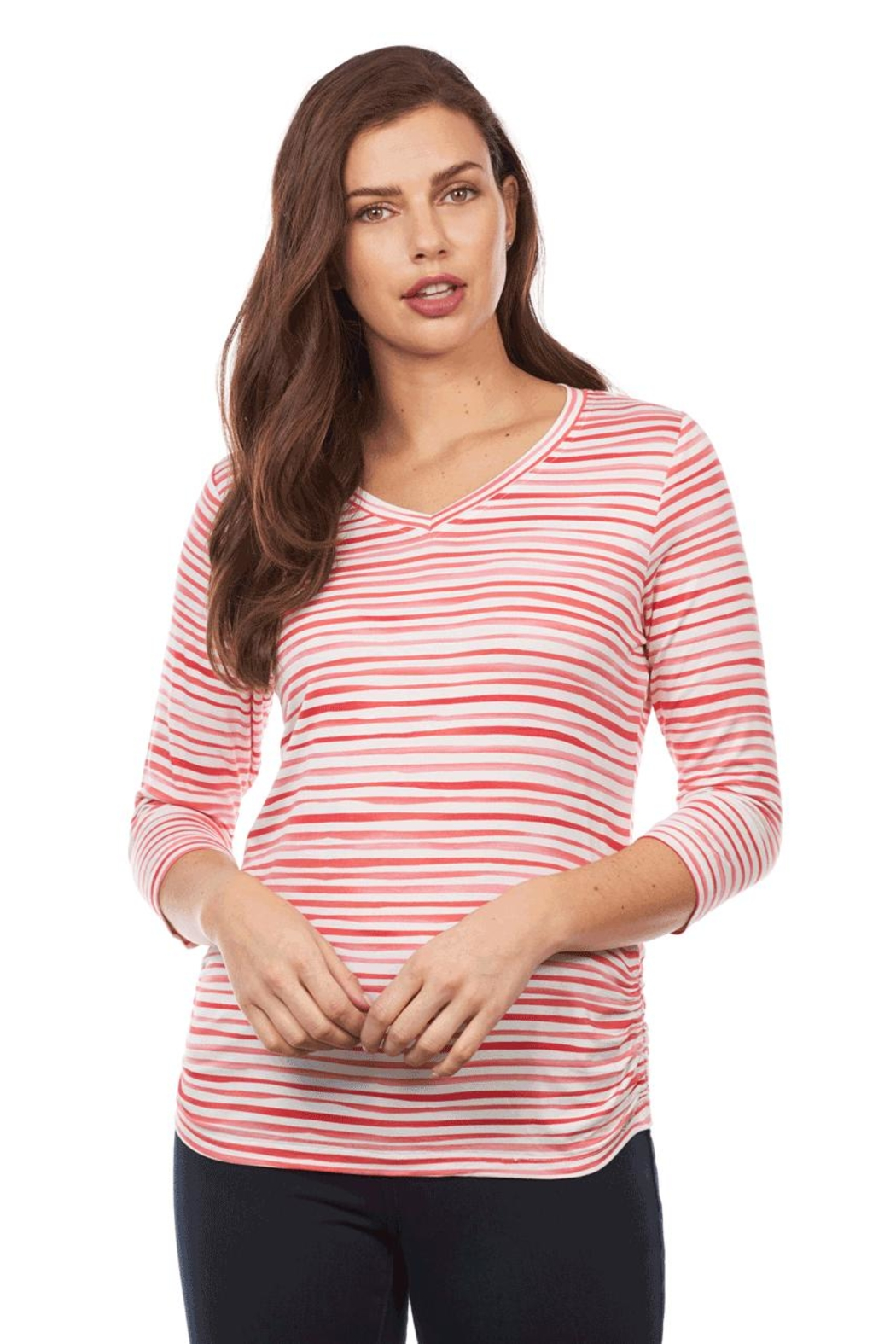 FDJ French Dressing Stripe Ruched Top - Main Image