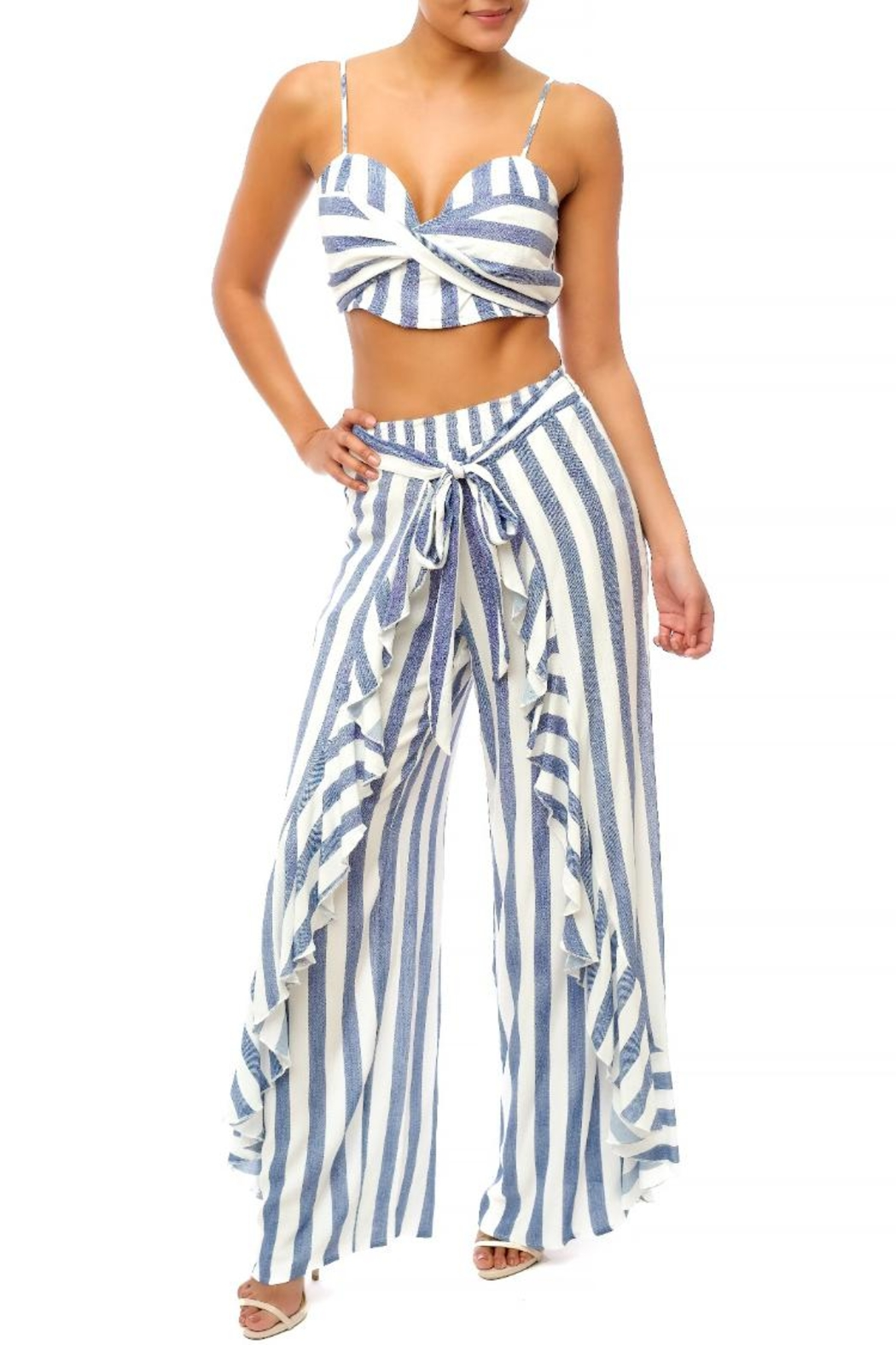 luxxel Stripe Ruffle Pant-Set - Front Cropped Image