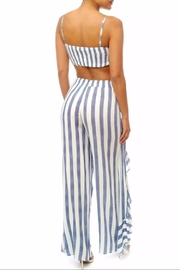 luxxel Stripe Ruffle Pant-Set - Front full body