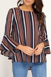 She + Sky Stripe Ruffle Sleeve - Product Mini Image