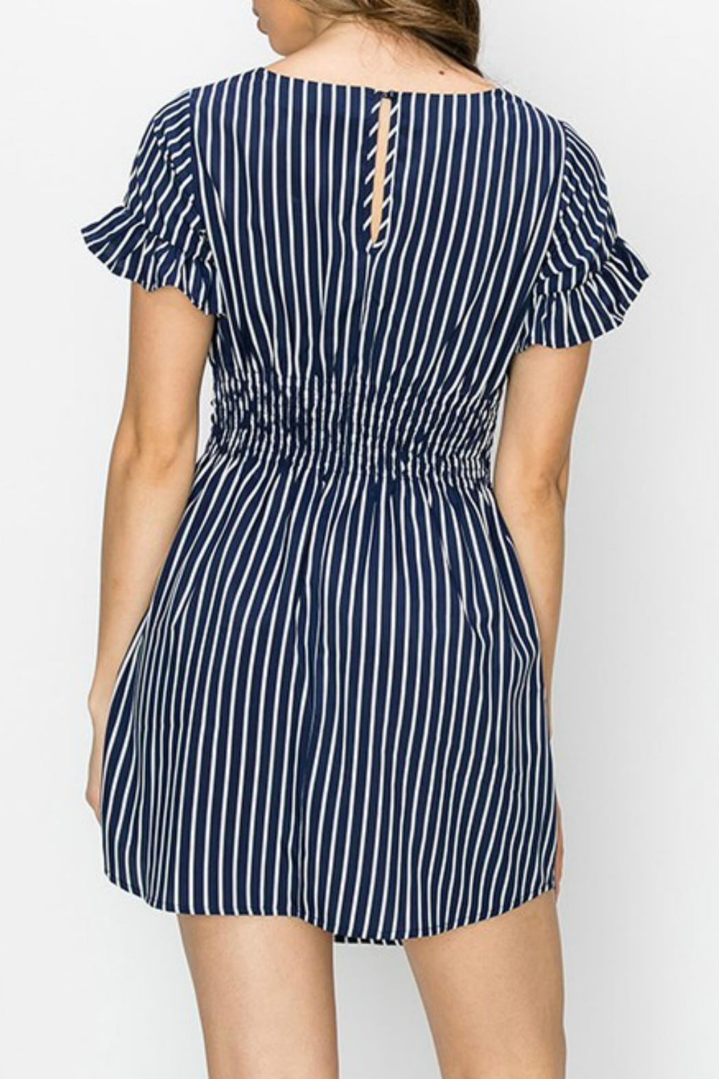ALB Anchorage Stripe Ruffle-Sleeve Dress - Front Full Image