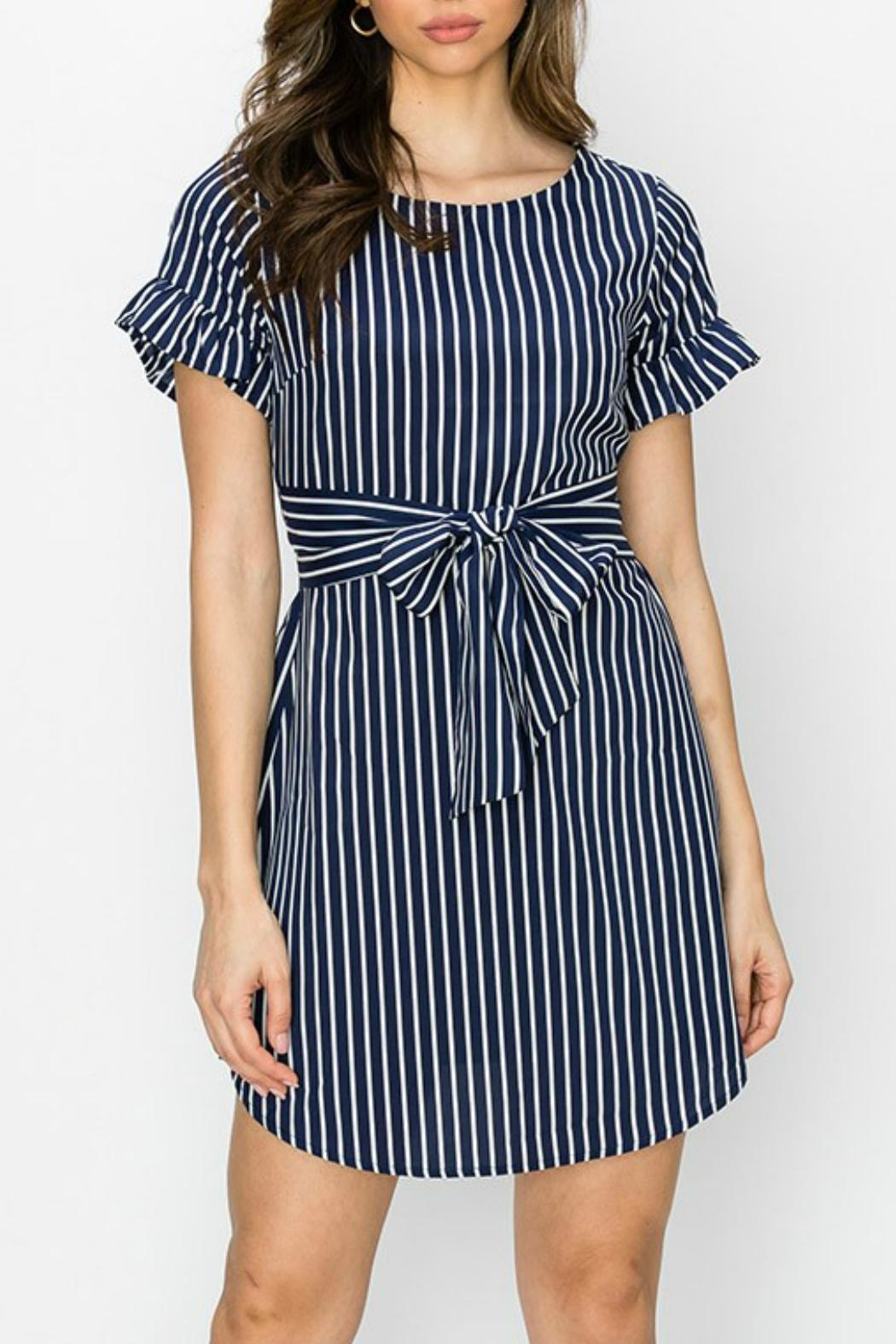 ALB Anchorage Stripe Ruffle-Sleeve Dress - Front Cropped Image