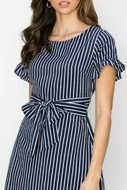 ALB Anchorage Stripe Ruffle-Sleeve Dress - Back cropped