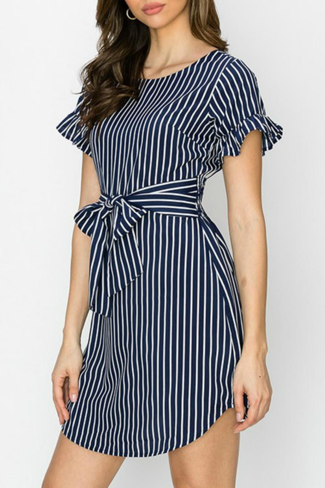 ALB Anchorage Stripe Ruffle-Sleeve Dress - Side Cropped Image