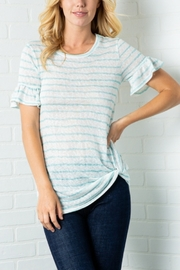 Lyn -Maree's Stripe Ruffle Sleeve Tee - Product Mini Image