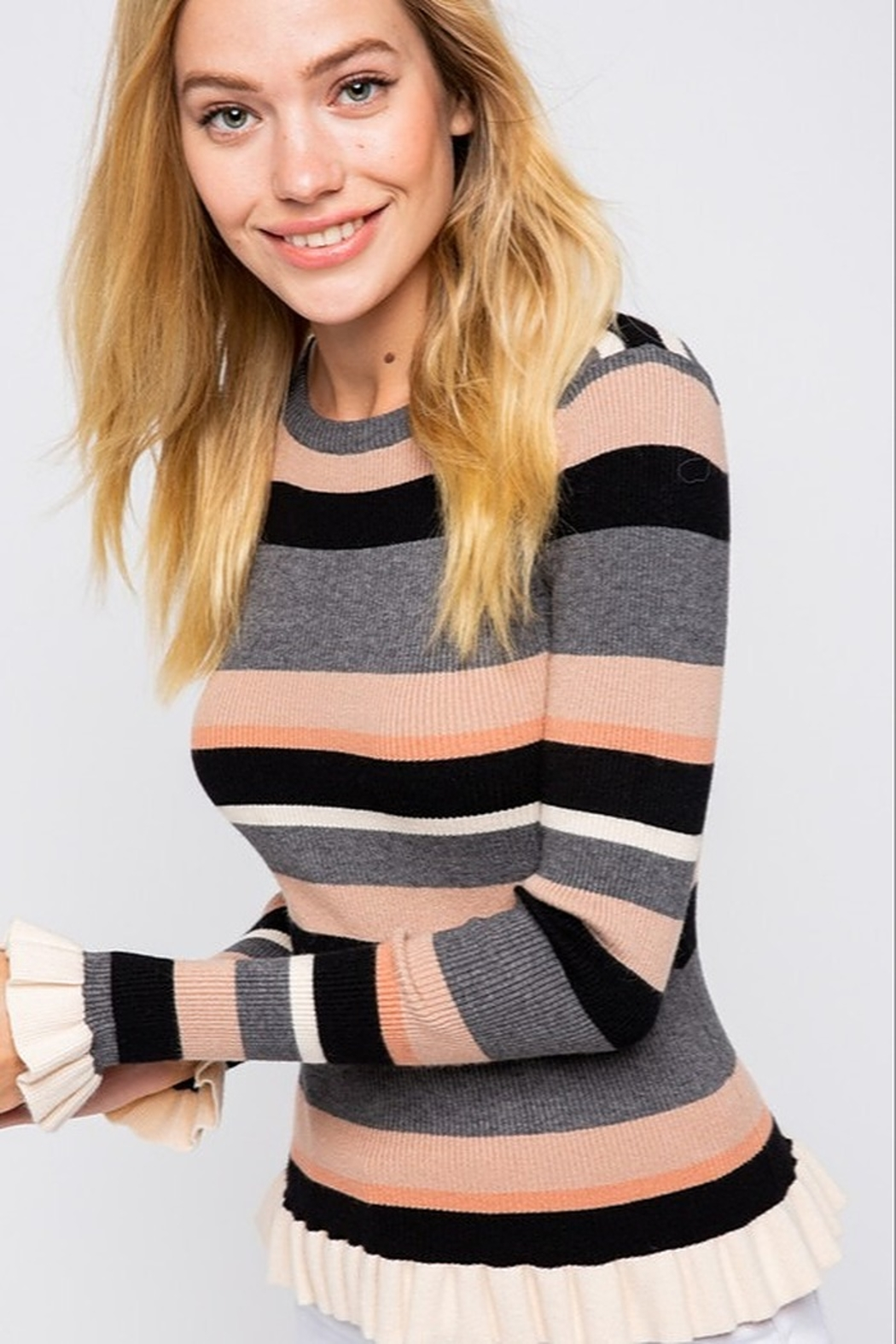 &merci Stripe Ruffle Sweater Top - Front Cropped Image
