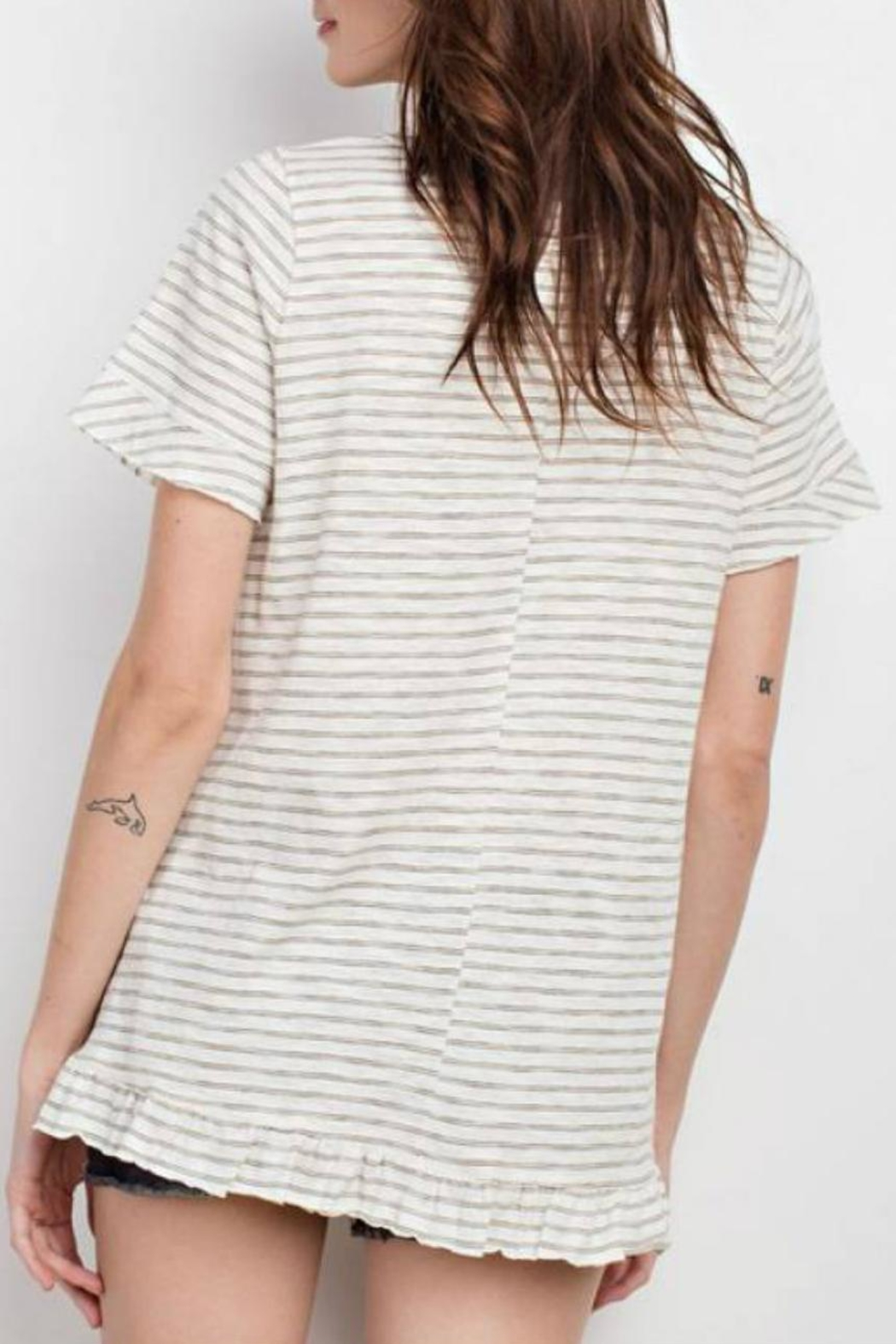 easel Stripe Ruffle Tunic - Side Cropped Image