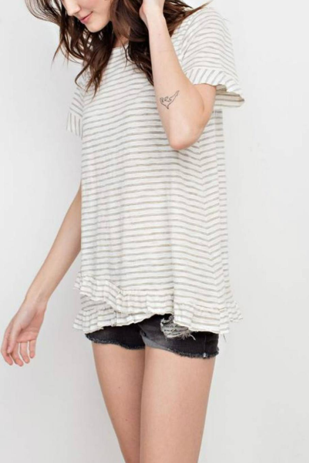 easel Stripe Ruffle Tunic - Front Full Image