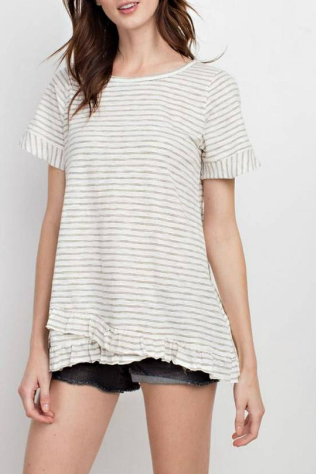 easel Stripe Ruffle Tunic - Front Cropped Image