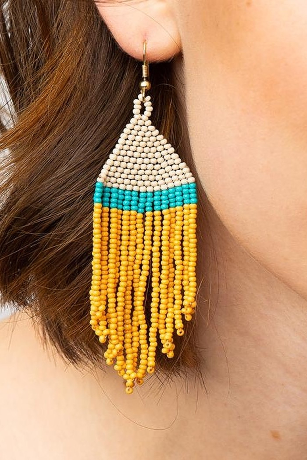 Ink + Alloy Stripe Seed Bead Earring - Front Cropped Image