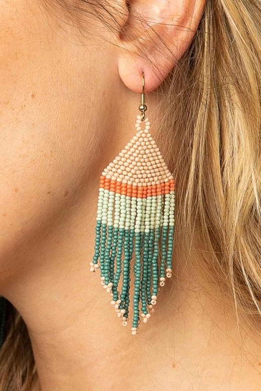 Ink + Alloy Stripe Seed Bead Earring - Front Full Image