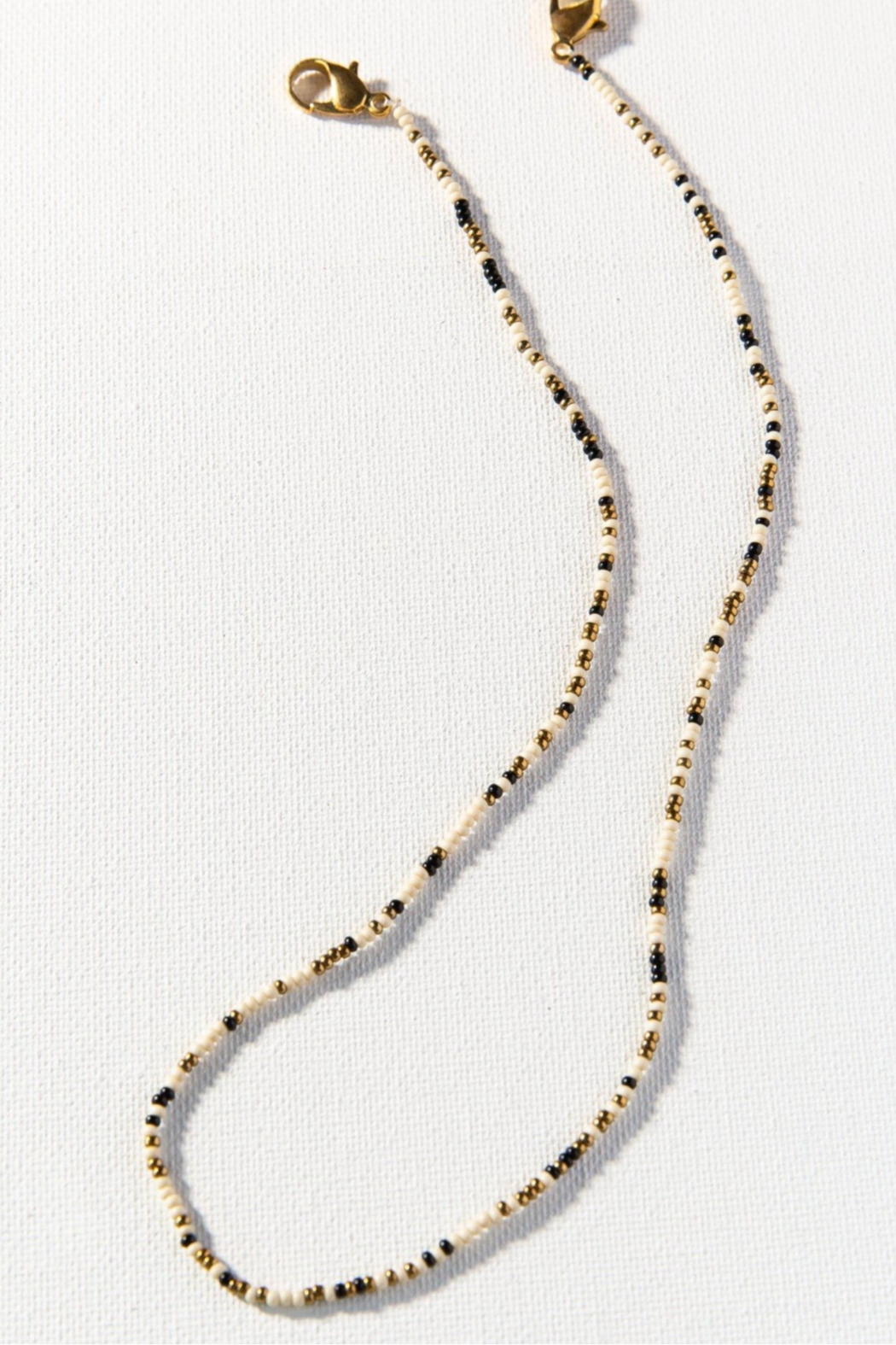 Ink + Alloy Seed Bead Mask Necklace - Side Cropped Image