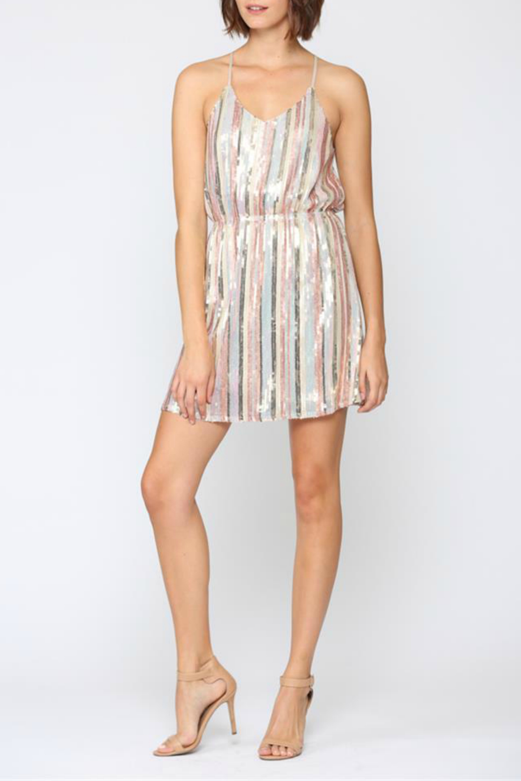 FATE by LFD STRIPE SEQUIN CAMI DRESS - Main Image