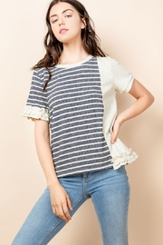 Thml Stripe Short Sleeve Ruffle Top - Product Mini Image