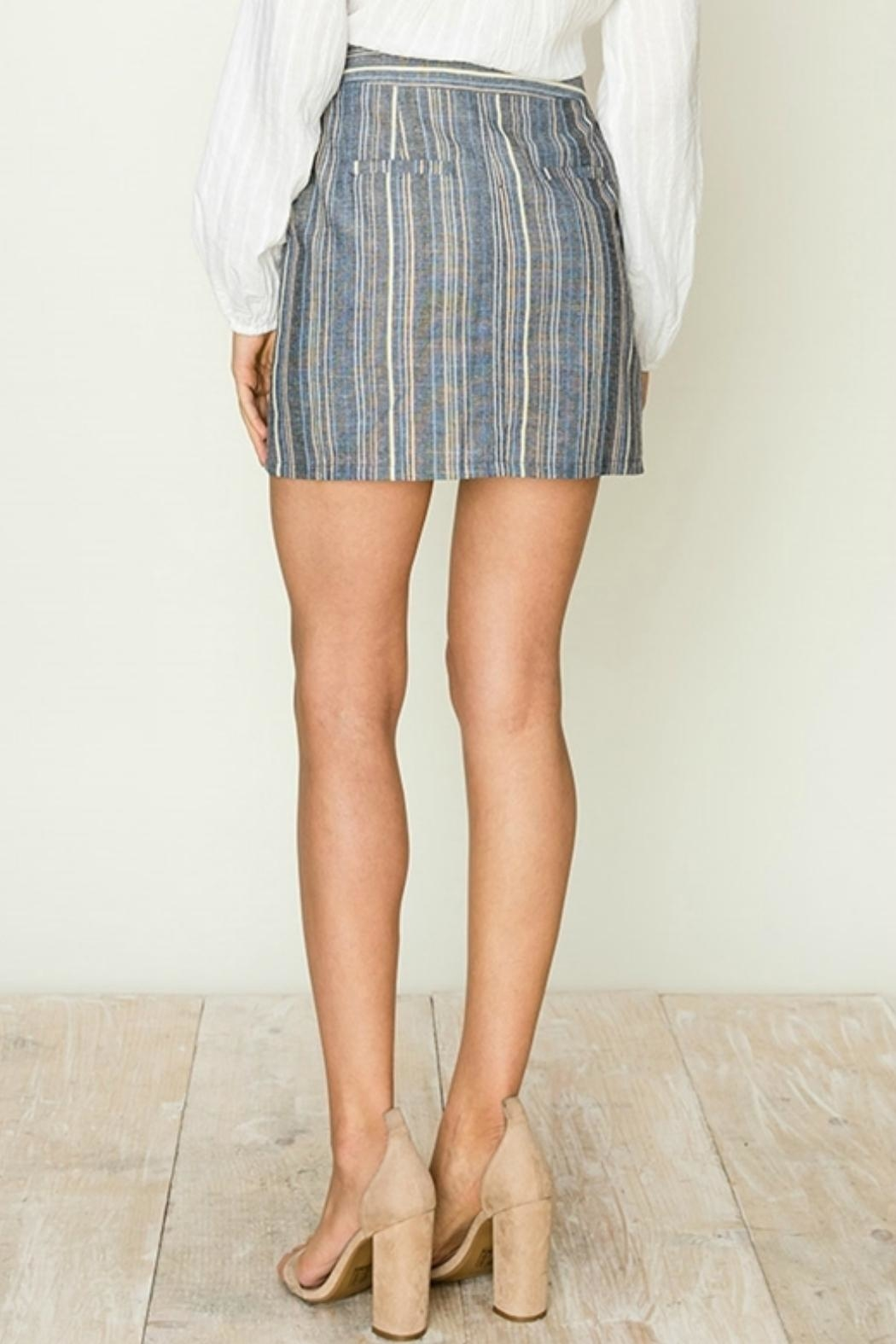 ALB Anchorage Stripe Side-Button Mini-Skirt - Front Full Image