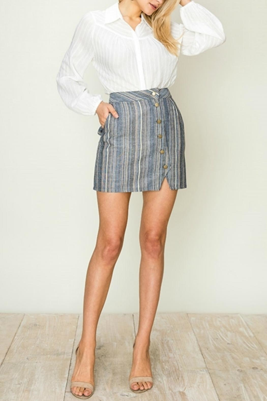 ALB Anchorage Stripe Side-Button Mini-Skirt - Main Image