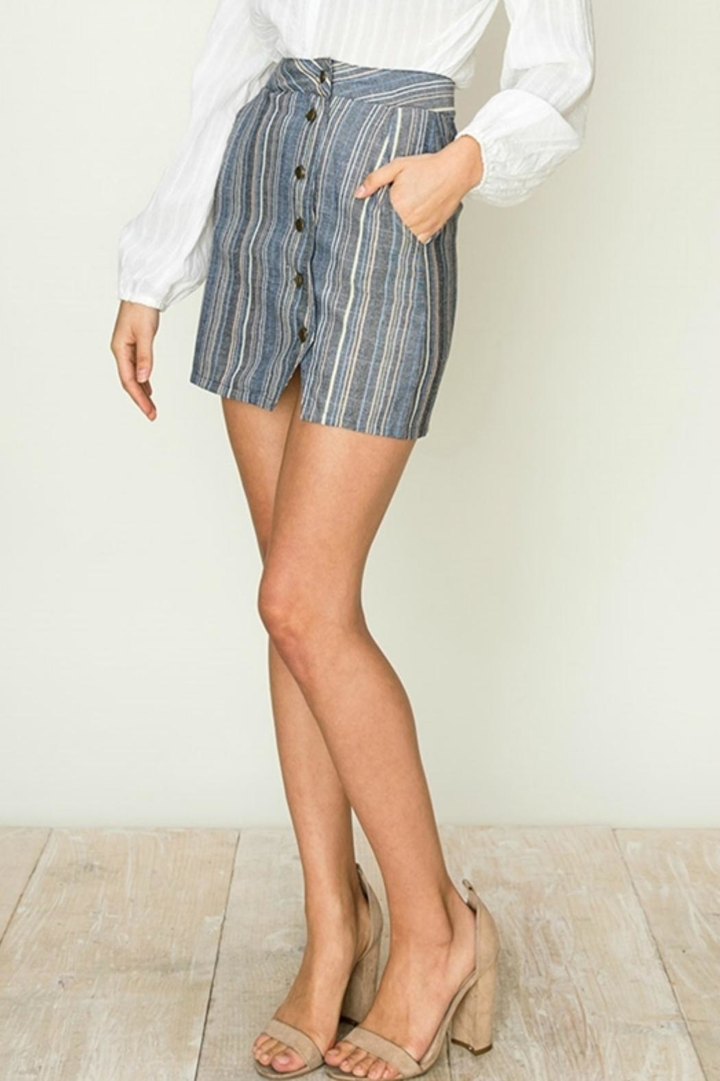 ALB Anchorage Stripe Side-Button Mini-Skirt - Side Cropped Image