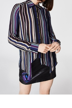 Nicole Miller Stripe Silk Shirt - Product List Image