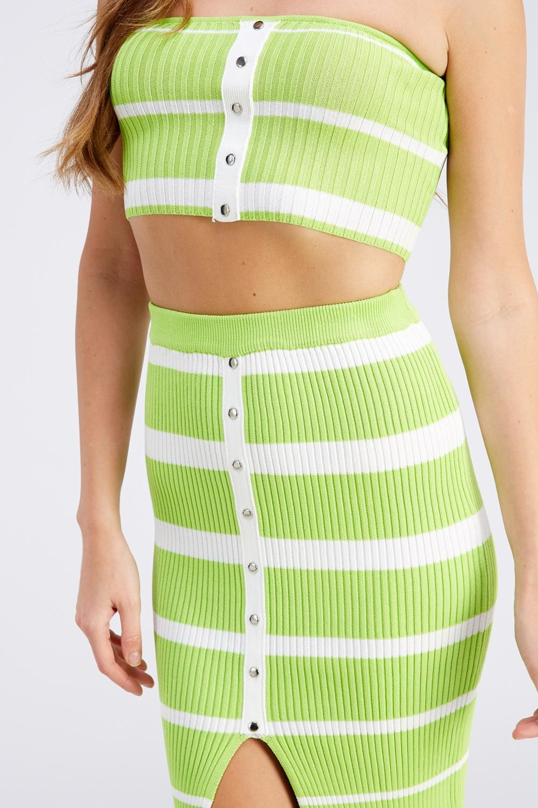 Hot & Delicious Stripe Skirt Set - Back Cropped Image