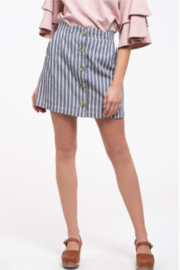 blue pepper  Stripe Skirt with Large Buttons - Product Mini Image