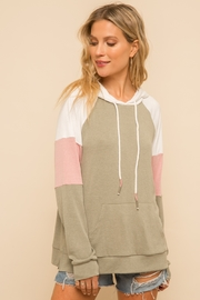Hem and Thread Stripe Sleeve Sweatshirt - Product Mini Image